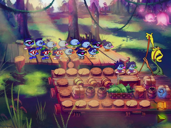 In Zoombinis, each puzzle represents a mathematical problem. In this puzzle, players must arrange so that each Zoombini has something in common with his or her neighbors.