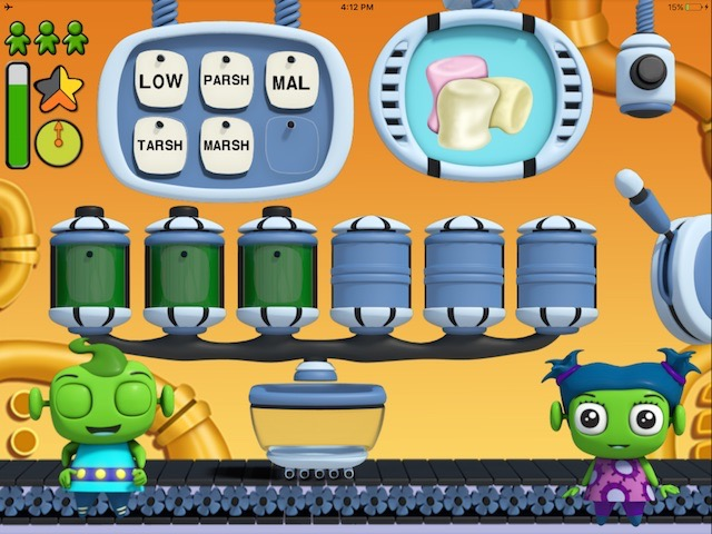 Nok Syllables teaches kids how to break down words into syllables and how to construct a word from syllables.