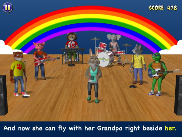 Among the 9 mini games, The Rainbow Stage is where you can sing along to original songs while teaching Bonny Bunny how to dance