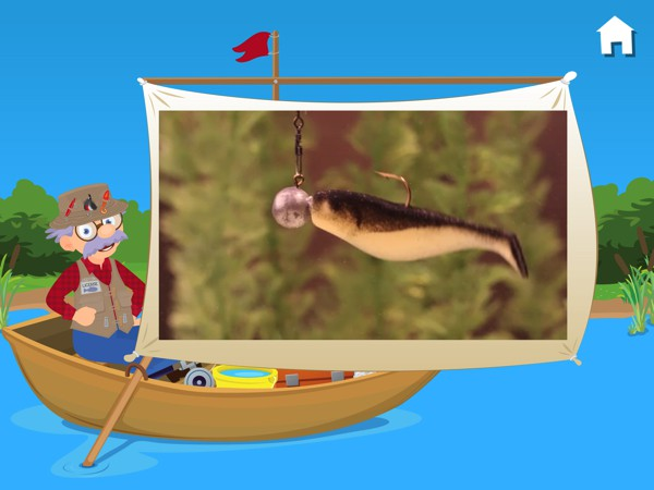 In addition to the games, the app also includes live-action educational videos about fishing