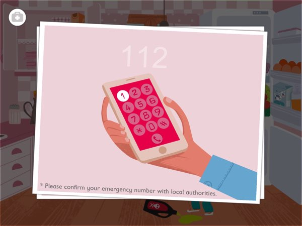 The app allows you to define your local emergency number and use it throughout the app to ensure your kids will remember it.