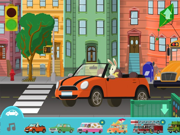 In Big City Vehicles, kids can learn about different vehicles in the street, subway, and sky