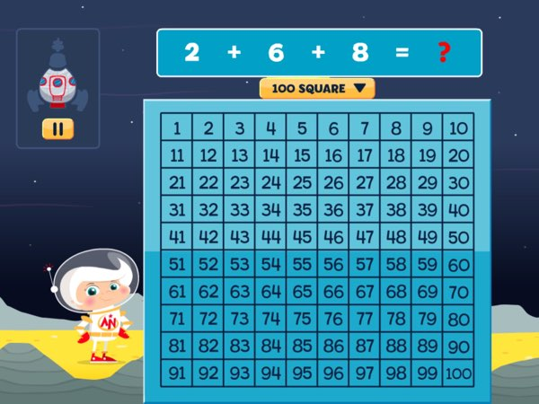 For the hard levels, kids can have access to a number grid -- which consists of numbers up to 100 -- to help them calculate and solve the problem.