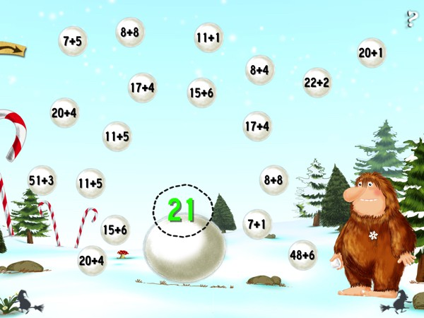Throughout the book, you'll find various mini games related to the story. In this mini game, you're asked to build a snowman using your knowledge of arithmetic.