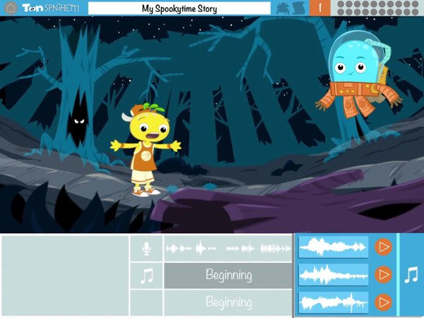 For each story part, you can choose from three background music and four sound effects.