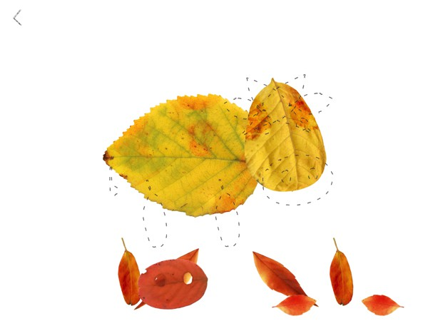 Drag the leaves from the bottom of the screen onto the template to complete your craft
