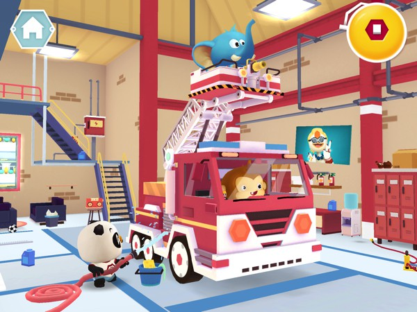 You can pan the screen to explore the fire station, and tap the objects you see to interact with them