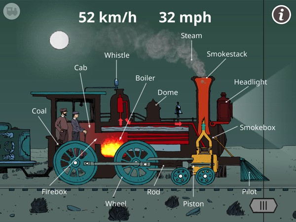 """Use the slider to """"peel"""" away the steam engine's outer layer and discover the many components underneath the hood"""