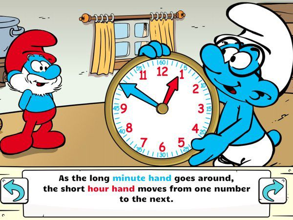 BEST APP TO LEARN ABOUT TIME FOR FOUR-YEAR-OLDS: Telling Time with the Smurfs is a comprehensive app that offers analog clock lessons