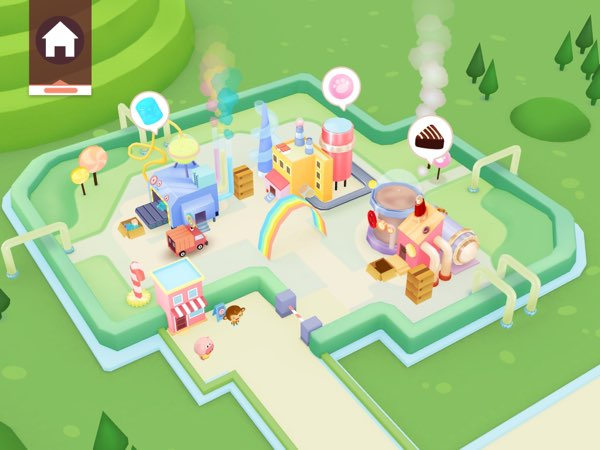 Dr. Panda Candy Factory has all the characteristics of the other apps in the series: beautiful illustration and fun gameplay.