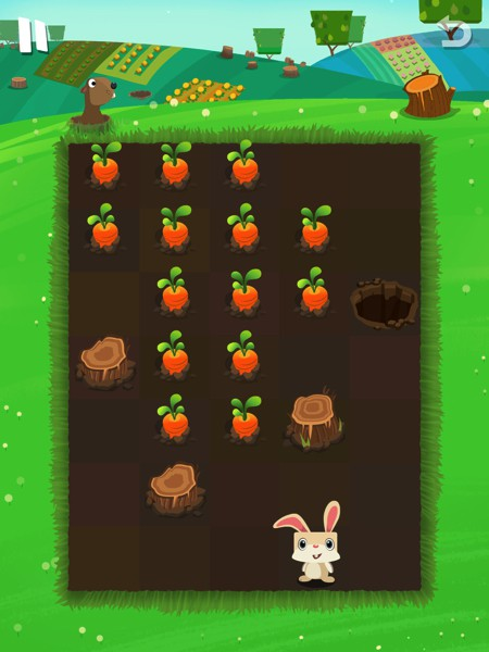 Draw a path with your finger to help Calvin the bunny get to all the carrots