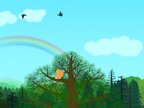 Piiig Forest Explorer allows you to explore different parts of a forest from a chipmunk's point of view. For example, you can climb up the tallest tree of the forest to enjoy beautiful scenery.