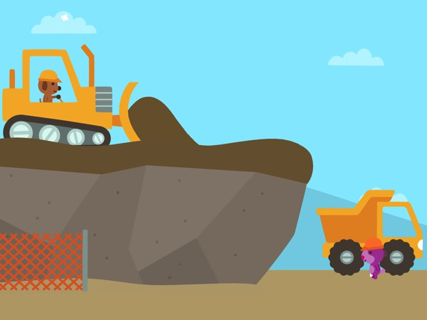 In Sago Mini Trucks & Diggers, kids can play with big machines at the construction site