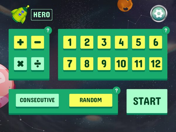 In practice mode, you can define how you want the math problems to be generated -- both operation-wise and number-wise.