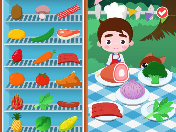 Kids can choose from a wide array of ingredients including fruits, vegetables, and meat products