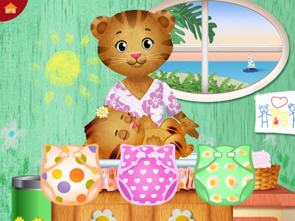 Kids can also help Mom Tiger change Baby Margaret's diaper