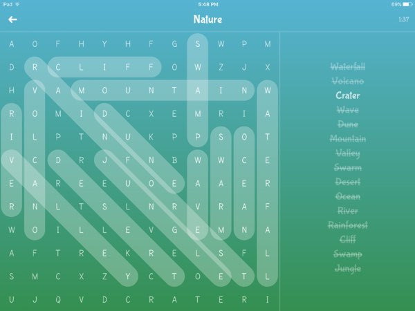 Word Magic offers endless fun of word search puzzles involving more than 200 English words in 16 different categories.