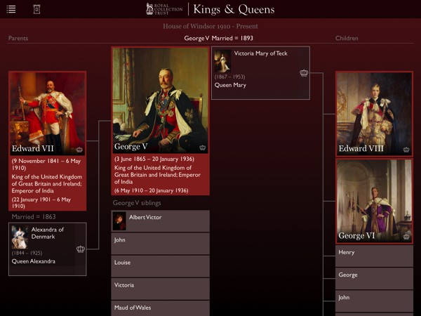 Explore the royal family trees and see how each ruler is linked to one another