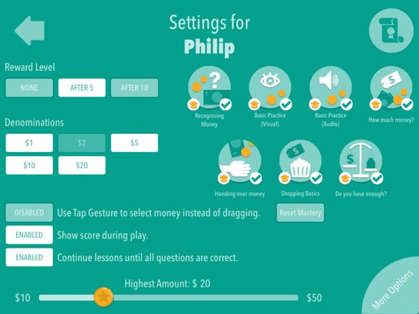Money Up! supports multiple user profiles and customizable settings for each of them.