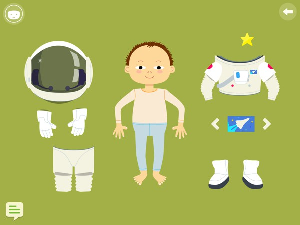 Kids can dress their avatar in a space suit and travel to space in a rocket