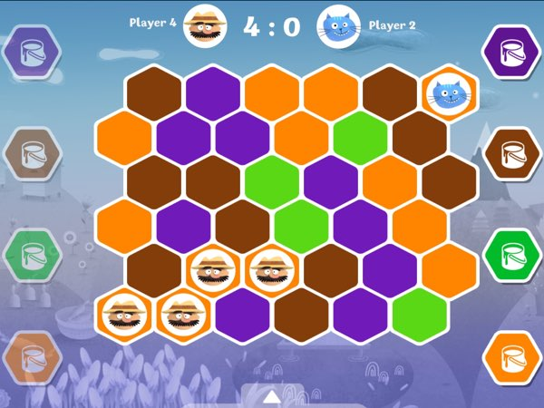 My favorite game in Fun on the Farm is the strategic hexagon color tiles game.