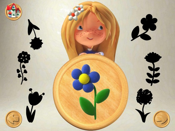 In this particular game, kids try to match the shadows to the flower in the middle