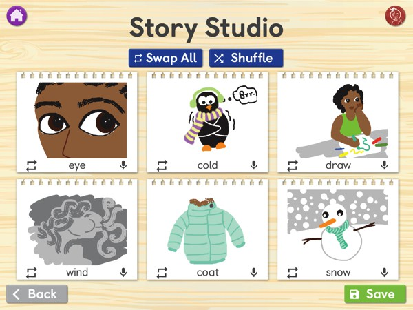 In a creative twist, kids can record stories using six random words
