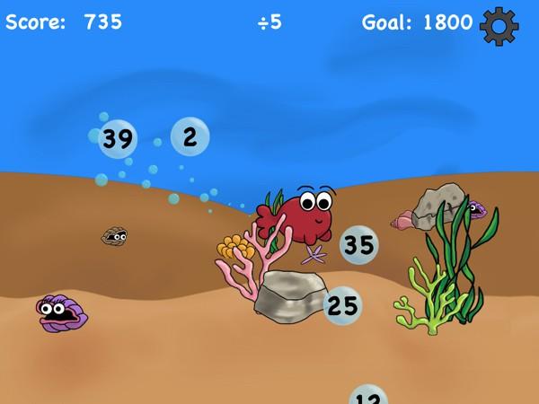 Help Carl the fish solve math problems along the sea floor