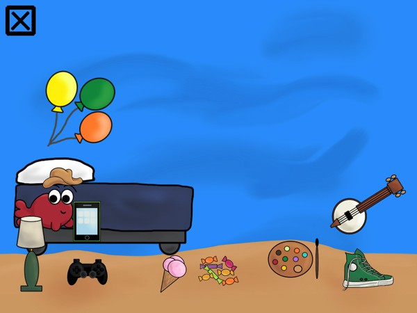 Collect prizes by completing levels and use them to decorate Carl's room