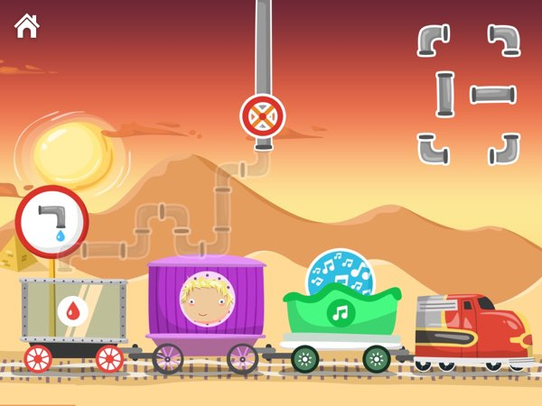 Wee Trains includes various mini games -- including this introduction to the water pipes puzzles genre.