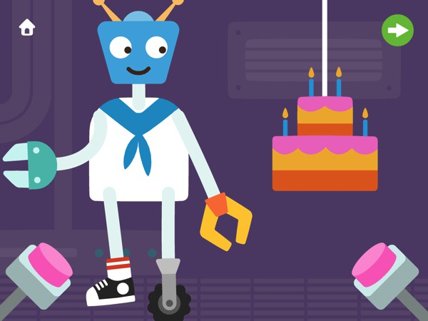 Break the piñatas to get treats, or tap the buttons to release confetti and balloons