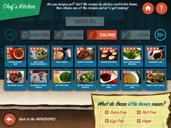 You can filter recipes by ingredients or by dietary restrictions