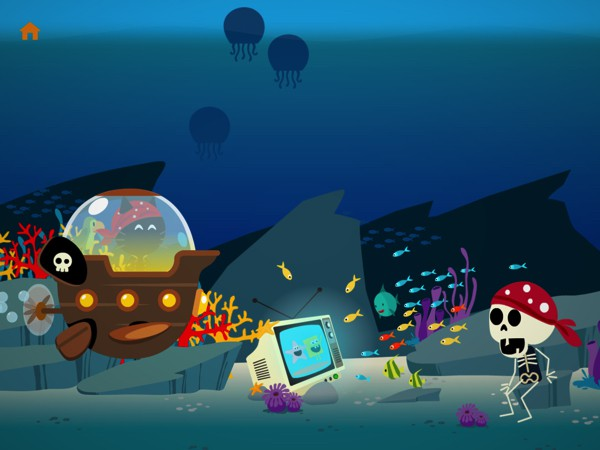 The app has lots of silly surprises, such as this skeleton pirate watching TV underwater