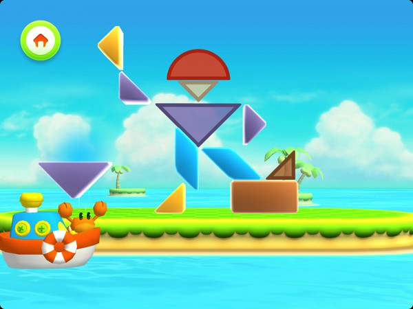 In Shapes Builder, kids learn about shapes and colors by solving fun tangram puzzles