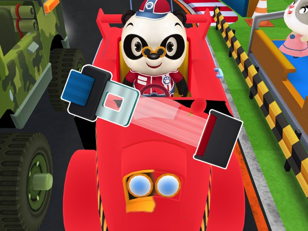 The app requires kids to put on a seat belt before the start of every race, which is a nice way of educating them about road safety