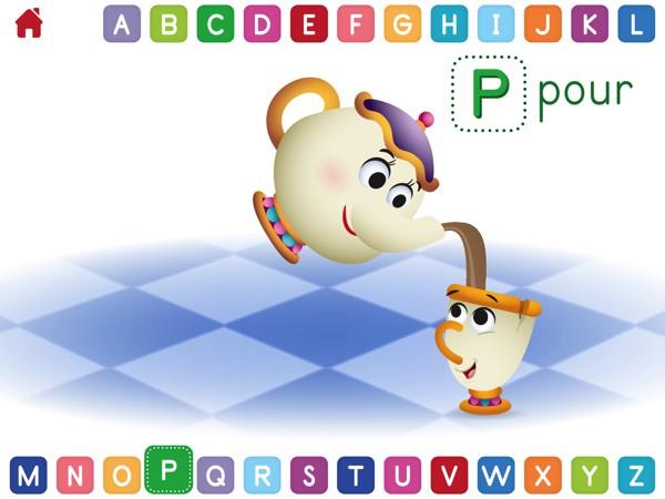 After selecting a letter, kids are asked to perform an activity that begins with that letter