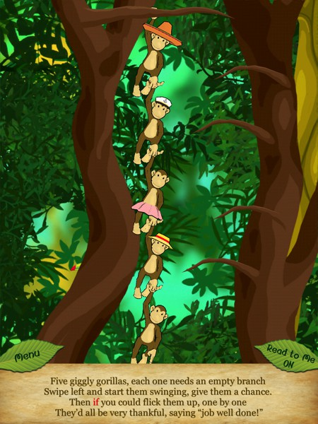 In this scene, kids must sequence their actions in order to help the gorillas climb up the tree