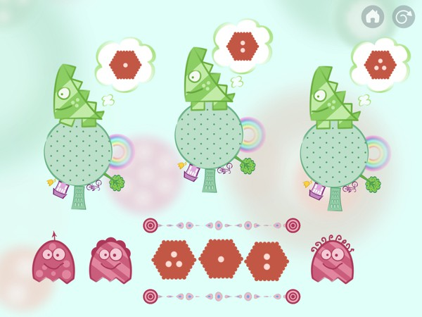 In Mathie, kids solve puzzles and draw paths to deliver cookies to the monsters