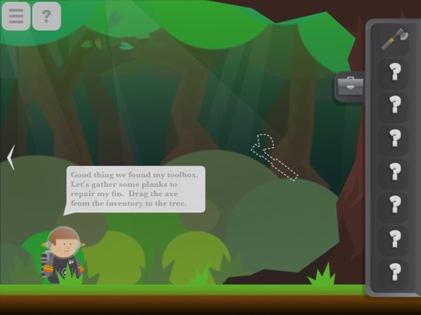 As typical of puzzle adventure games, Amos the Astronaut includes a toolbox and conversations.