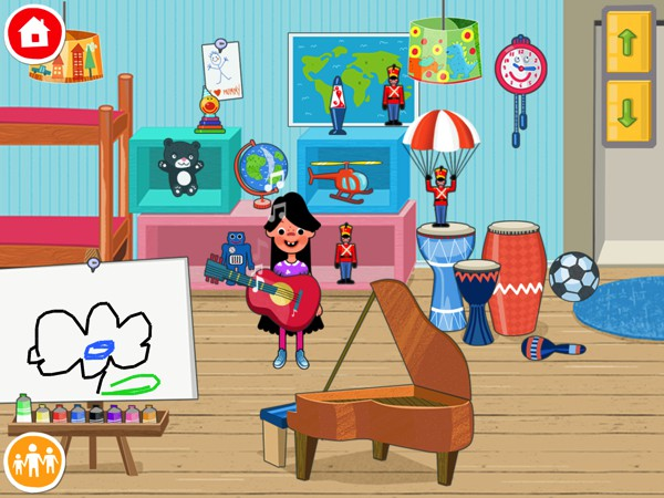 Each room has lots of items to play with. For example, in the attic you can play the piano and paint on the canvas.