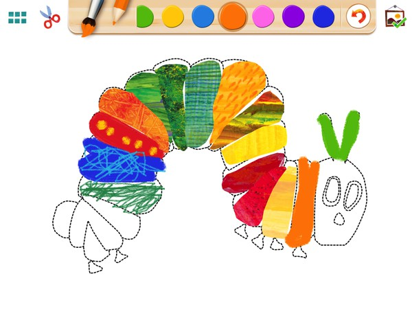 The Very Hungry Caterpillar -- Creative Play lets kids to create artwork in the style of Eric Carle