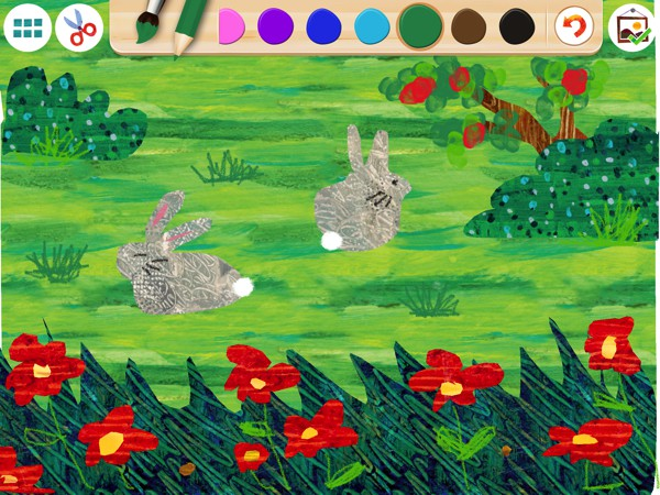 Kids can start with a blank canvas or select from a range of templates from Eric Carle's storybooks