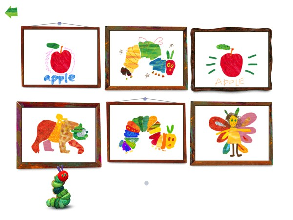 Kids can save their artwork in the gallery, curated by the caterpillar himself, to show off to friends and family