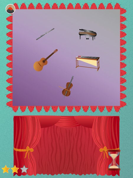 In one of the activities, kids must figure out which instrument makes the sound played by the app