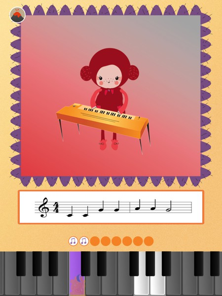 Kids also learn to play popular rhymes on the virtual keyboard by tapping the keys as they light up