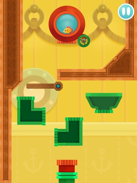 Busy Water challenges you to create a safe path to rescue the goldfish into the destination pipe.