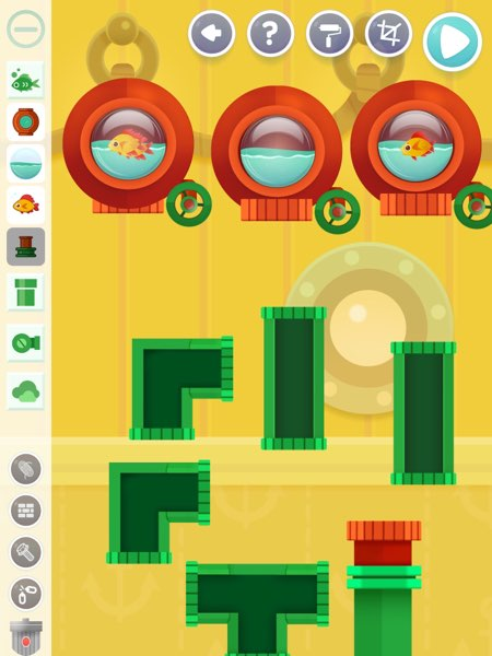 Busy Water also allows you to design your own puzzles, for example, puzzles with more than one fish to rescue.