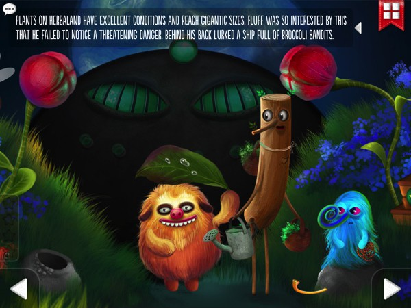 Throughout the story, kids discover alien planets and strange creatures made alive with vibrant illustrations and lively animation