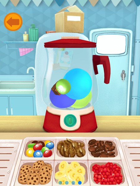 Use the mixer to combine ice cream, sweets, and fruits into a unique new flavor