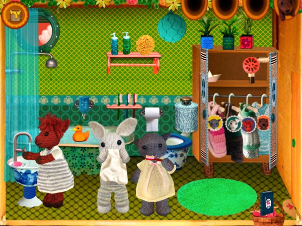Kids can move the characters around the house and come up with stories about their lives